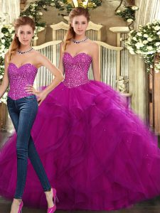 Fuchsia Lace Up Quinceanera Dresses Beading and Ruffles Sleeveless Floor Length