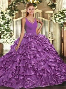 Comfortable Sleeveless Sweep Train Backless With Train Ruffles 15 Quinceanera Dress