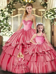 Watermelon Red Lace Up Vestidos de Quinceanera Ruffled Layers Sleeveless Floor Length