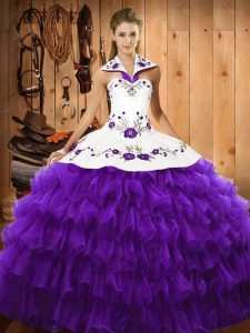 Halter Top Sleeveless Organza 15 Quinceanera Dress Embroidery and Ruffled Layers Lace Up