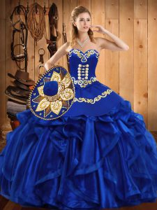 Royal Blue Sweetheart Neckline Embroidery and Ruffles Sweet 16 Dress Sleeveless Lace Up