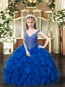 Sleeveless Beading and Ruffles Lace Up Pageant Dress Womens