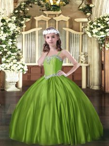 Enchanting Olive Green Ball Gowns Beading Girls Pageant Dresses Lace Up Satin Sleeveless Floor Length