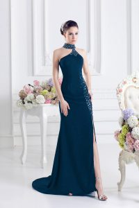Navy Blue Column/Sheath Elastic Woven Satin Halter Top Sleeveless Beading Lace Up Homecoming Dress Sweep Train