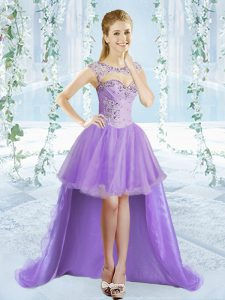 Sexy Organza Scoop Sleeveless Lace Up Beading Prom Evening Gown in Lavender