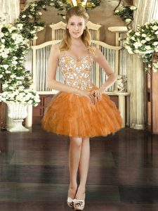 Straps Sleeveless Tulle Prom Party Dress Beading and Ruffles Lace Up