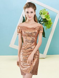 Modest Short Sleeves Sequins Zipper Dress for Prom