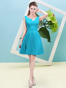 Ruching Bridesmaid Dresses Aqua Blue Zipper Sleeveless Mini Length