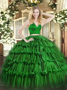 Green Zipper Halter Top Ruffled Layers Quinceanera Dresses Organza Sleeveless