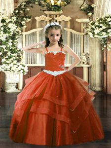 Excellent Rust Red Ball Gowns Appliques and Ruffled Layers Custom Made Pageant Dress Lace Up Tulle Sleeveless Floor Length