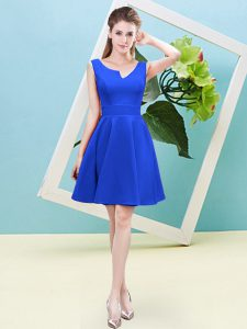 Exquisite Ruching Vestidos de Damas Blue Zipper Sleeveless Mini Length
