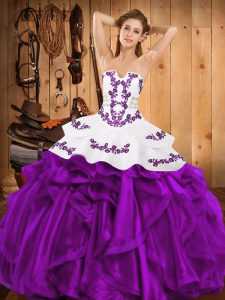 Wonderful Floor Length Eggplant Purple Sweet 16 Dresses Strapless Sleeveless Lace Up