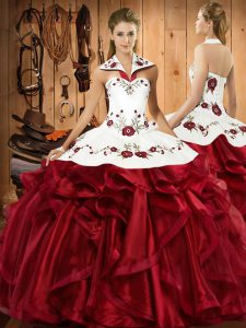 Embroidery and Ruffles Sweet 16 Quinceanera Dress Wine Red Lace Up Sleeveless Floor Length