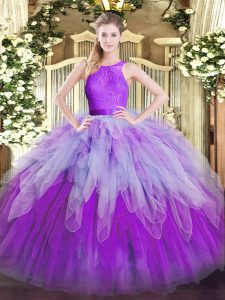 Sleeveless Organza Floor Length Zipper Quinceanera Gown in Multi-color with Ruffles