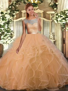 Top Selling Gold Sleeveless Lace and Ruffles Floor Length Quinceanera Gown