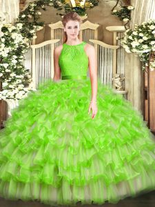 Fashion Ruffled Layers Quinceanera Dresses Zipper Sleeveless Floor Length