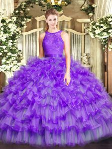 Noble Eggplant Purple Ball Gowns Scoop Sleeveless Organza Floor Length Zipper Ruffled Layers Quinceanera Dress