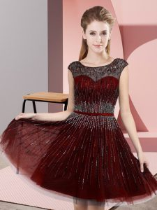 Knee Length Burgundy Homecoming Dress Scoop Sleeveless Backless