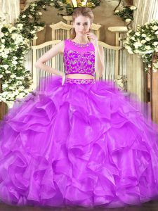 Spectacular Tulle Scoop Sleeveless Zipper Beading and Ruffles 15th Birthday Dress in Lilac