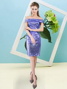 Sumptuous Mini Length Lavender Prom Party Dress Off The Shoulder Short Sleeves Zipper