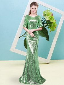 Sequins Prom Party Dress Green Zipper Half Sleeves Floor Length
