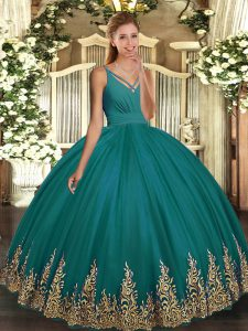 Tulle Sleeveless Floor Length Sweet 16 Quinceanera Dress and Appliques