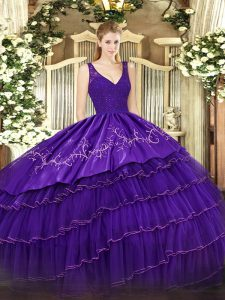 Purple Ball Gowns V-neck Sleeveless Organza and Taffeta Floor Length Backless Beading and Lace and Embroidery and Ruffled Layers Quinceanera Dress