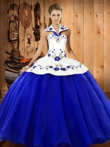 Sleeveless Lace Up Floor Length Embroidery Ball Gown Prom Dress