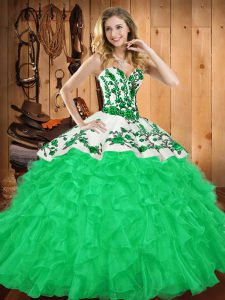 Spectacular Green Sweetheart Neckline Embroidery and Ruffles Quinceanera Gown Sleeveless Lace Up