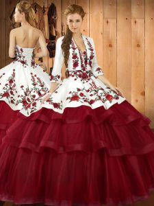 Attractive Organza Sweetheart Sleeveless Sweep Train Lace Up Embroidery 15th Birthday Dress in Wine Red