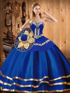 Blue Ball Gowns Embroidery 15 Quinceanera Dress Lace Up Satin and Tulle Sleeveless Floor Length