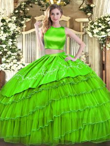 High-neck Sleeveless 15 Quinceanera Dress Floor Length Embroidery and Ruffled Layers Tulle