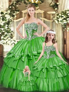 Gorgeous Beading and Ruffled Layers 15 Quinceanera Dress Green Lace Up Sleeveless Floor Length