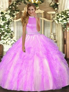 Best Halter Top Sleeveless Organza Quinceanera Dress Beading and Ruffles Backless