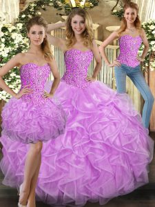 Sumptuous Sweetheart Sleeveless Tulle Quince Ball Gowns Beading and Ruffles Lace Up