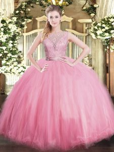 Baby Pink Sleeveless Lace Floor Length Quinceanera Gowns