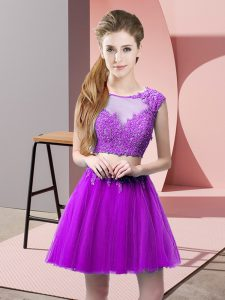Eggplant Purple Scoop Zipper Appliques Homecoming Dress Sleeveless