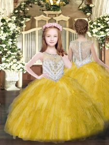 Sleeveless Tulle Floor Length Zipper Pageant Dress for Teens in Gold with Beading and Ruffles