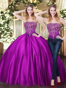 Adorable Purple Lace Up Sweetheart Beading 15 Quinceanera Dress Tulle Sleeveless