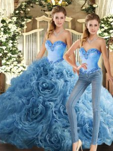 Great Sleeveless Floor Length Beading Lace Up Sweet 16 Quinceanera Dress with Baby Blue