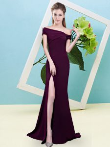 Burgundy Sleeveless Elastic Woven Satin Zipper Bridesmaid Gown for Prom and Party and Wedding Party