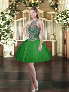Mini Length Ball Gowns Sleeveless Dark Green Lace Up