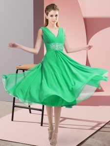 High Class Knee Length Side Zipper Dama Dress for Quinceanera Turquoise for Prom and Party and Wedding Party with Beading
