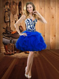 Chic Royal Blue Ball Gowns Embroidery and Ruffles Prom Gown Lace Up Organza Sleeveless Mini Length