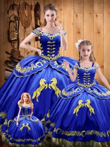 Royal Blue Lace Up Quinceanera Gown Beading and Embroidery Sleeveless Floor Length