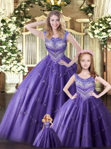 Elegant Eggplant Purple Scoop Neckline Beading Quince Ball Gowns Sleeveless Lace Up