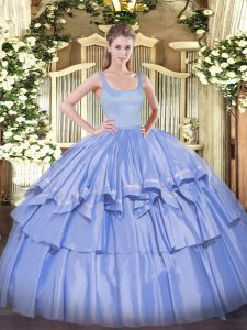 Colorful Blue Sleeveless Beading and Ruffled Layers Floor Length Ball Gown Prom Dress