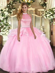 Pink Ball Gowns Halter Top Sleeveless Tulle Floor Length Backless Beading and Ruffles Quinceanera Dresses