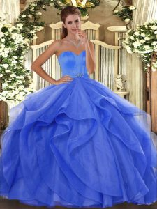 Blue Sweetheart Neckline Beading and Ruffles Vestidos de Quinceanera Sleeveless Lace Up