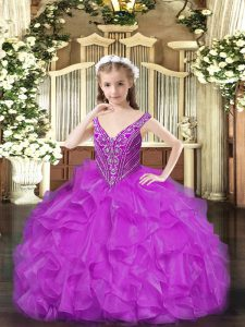 Latest Purple Ball Gowns Organza V-neck Sleeveless Beading and Ruffles Floor Length Lace Up Custom Made Pageant Dress
